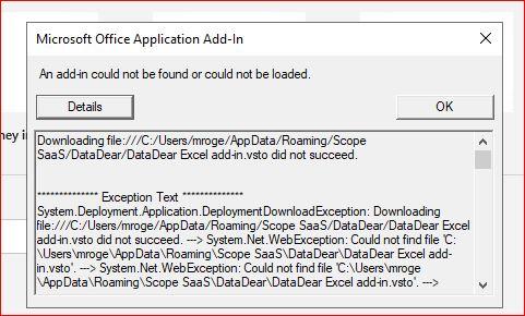 DataDearAddon cannot be found error